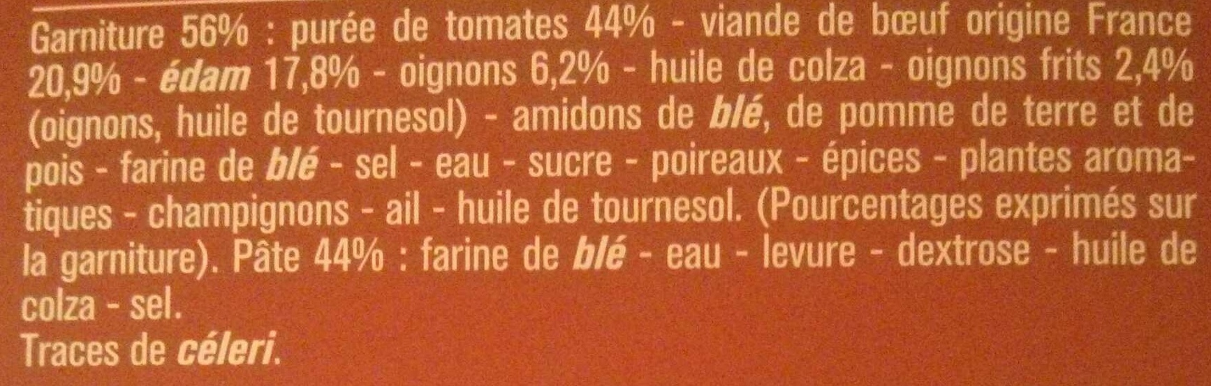 Pizza Cuite sur Pierre - Ingredients