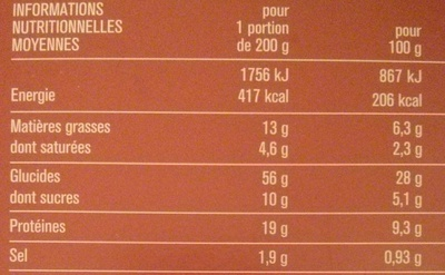 Pizza Cuite sur Pierre - Nutrition facts