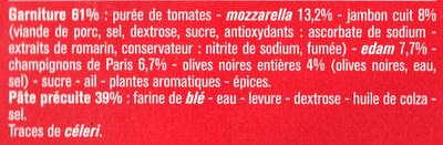 Pizza Cuite sur Pierre (Royale : Fromages, Jambon, Champignons, Olives) - Ingredients