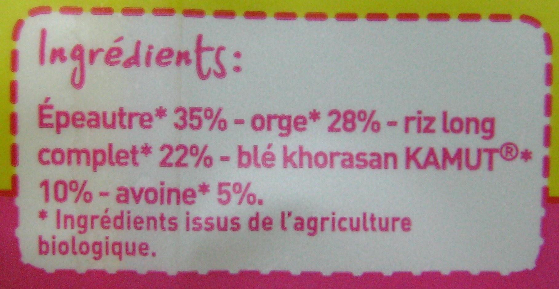 Mélange de 5 céréales Bio - Ingrédients