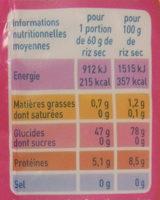 Riz Basmati - Información nutricional - fr