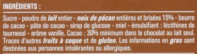 Chocolat au lait et aux morceaux de noix de pécan caramélisées - Ingrédients - fr