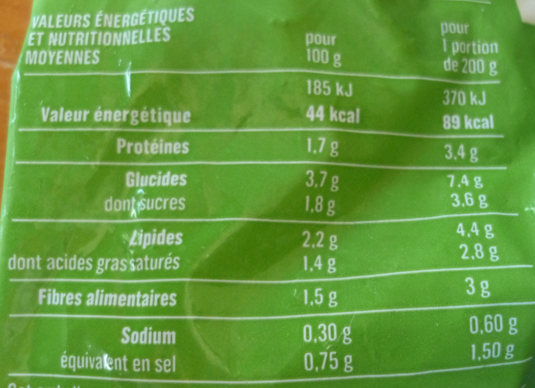 Épinards hachés à la crème - Informations nutritionnelles
