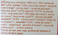 Barres Abricot Chocolat - Ingrédients