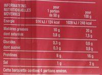 Lardons nature qualité supérieure - Nutrition facts - fr