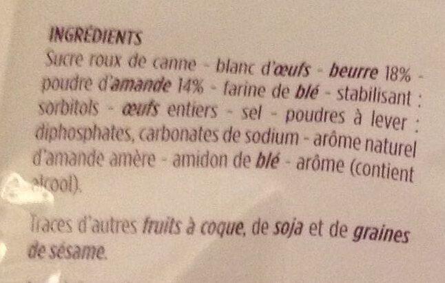 Petits financiers aux amandes - 14 mini pâtisseries - Ingrédients