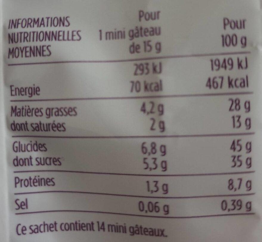 Petits financiers aux amandes - 14 mini pâtisseries - Informations nutritionnelles