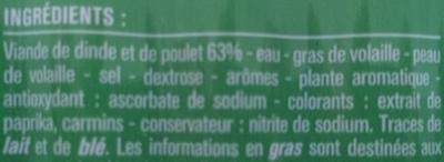 10 Knacks Pure Volaille Fumées au Bois de Hêtre - Ingrédients - fr