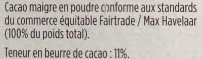 Poudre de Cacao Maigre - Ingredients - fr