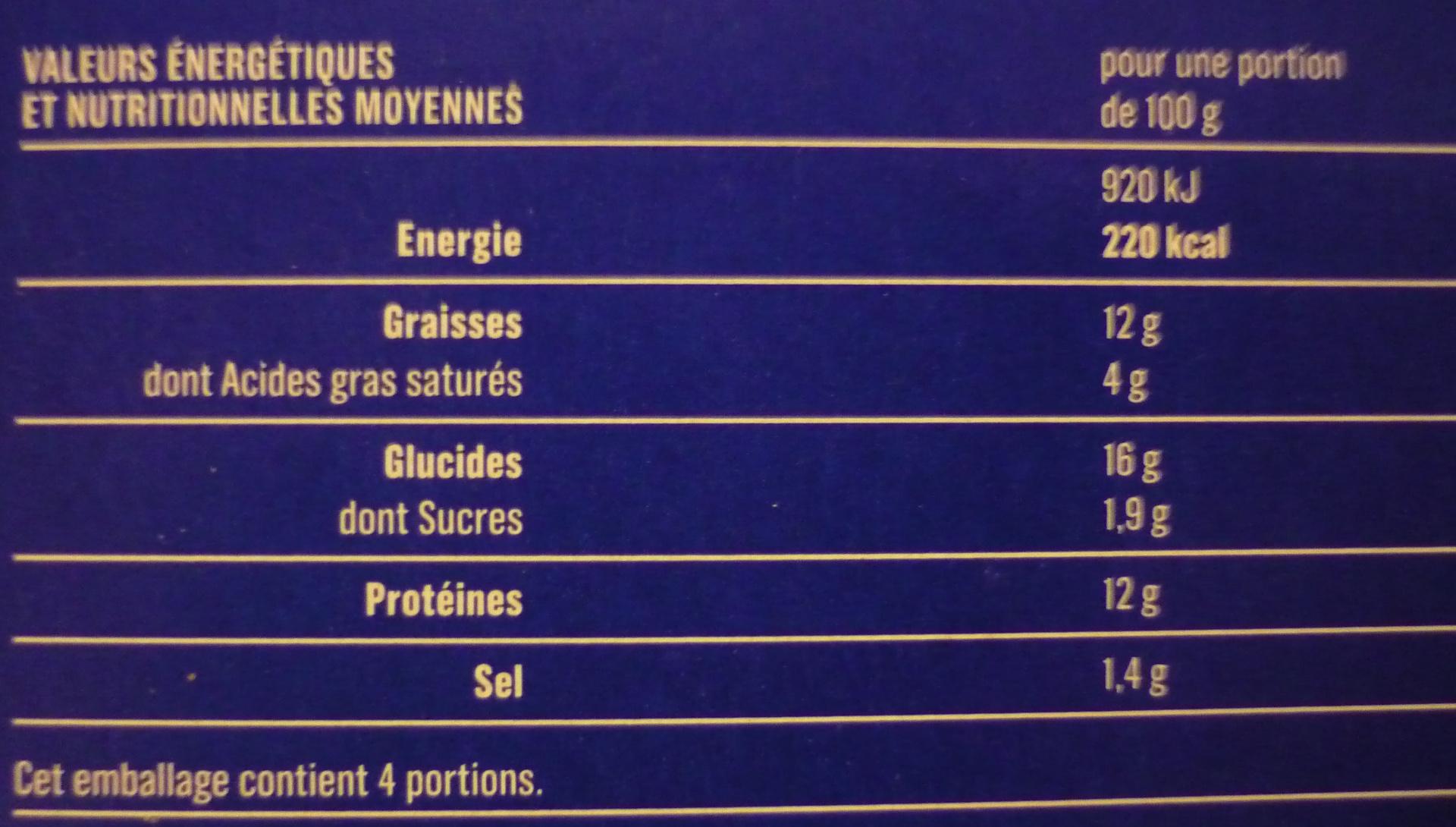 4 Cordons Bleus de Dinde, Surgelés - Informations nutritionnelles - fr