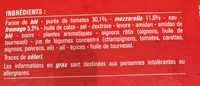 Pizza cuite sur pierre Margherita (Tomate, Mozzarella) - Ingredienti - fr