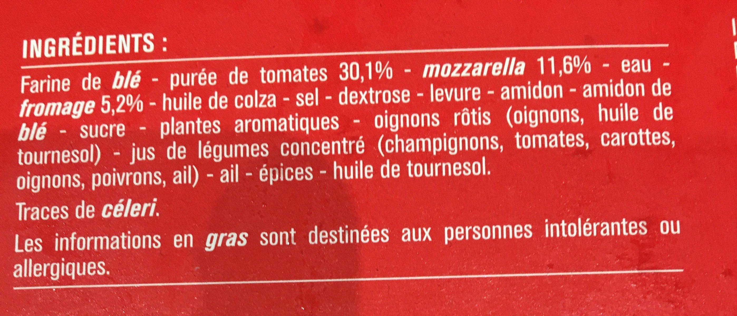 Pizza cuite sur pierre Margherita (Tomate, Mozzarella) - Ingrédients - fr