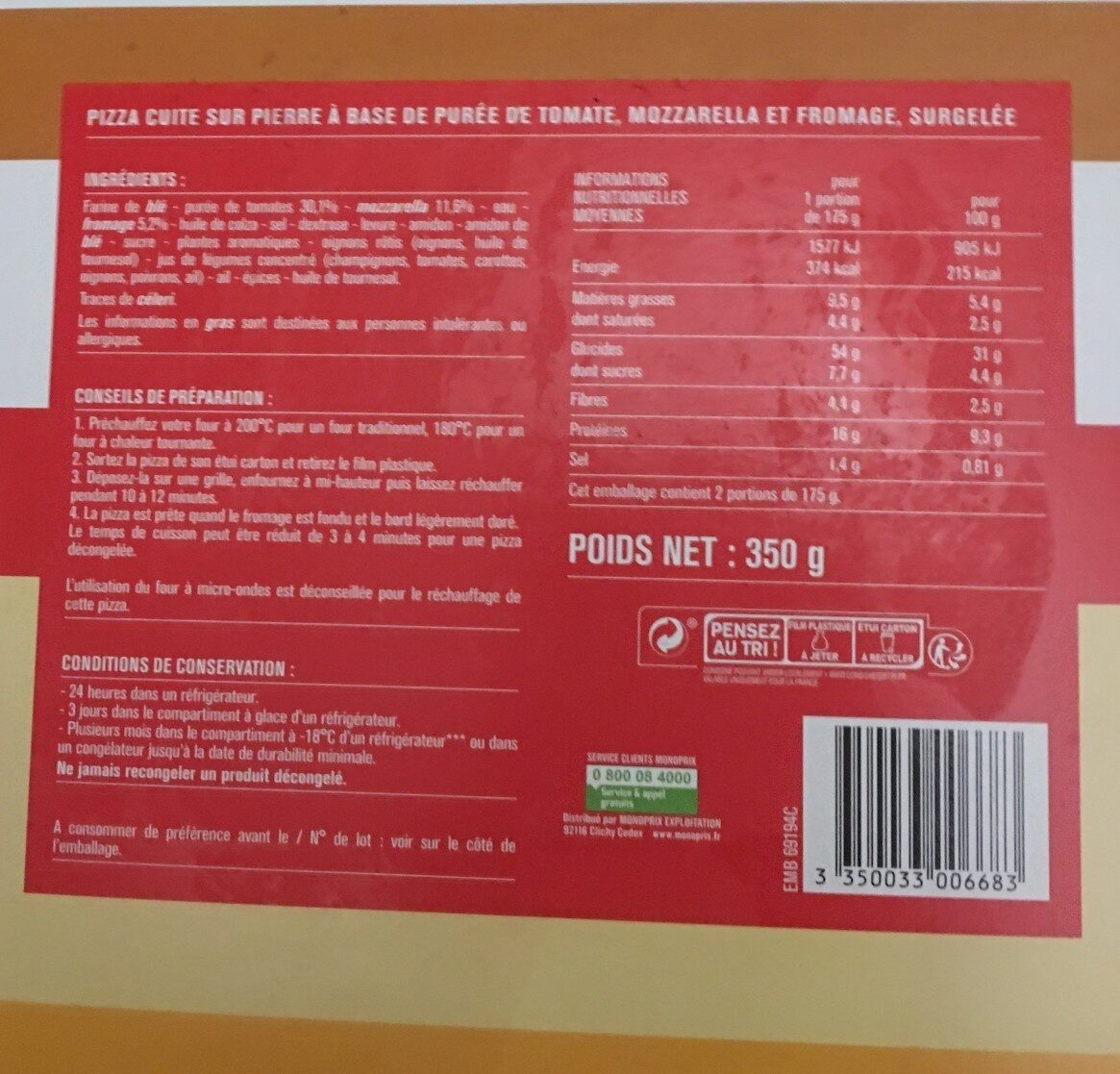 Pizza cuite sur pierre Margherita (Tomate, Mozzarella) - Informations nutritionnelles - fr