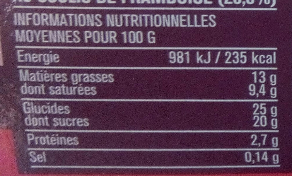 Panna Cotta coulis framboise - Nutrition facts - fr