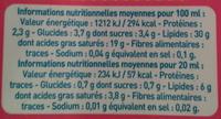 Crème entière stérilisé UHT (30 % MG) liquide - Informations nutritionnelles - fr