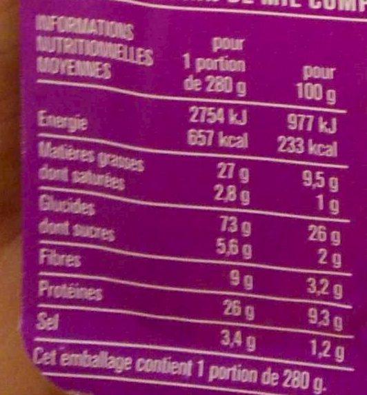 Giga poulet roti crudités - Informations nutritionnelles - fr