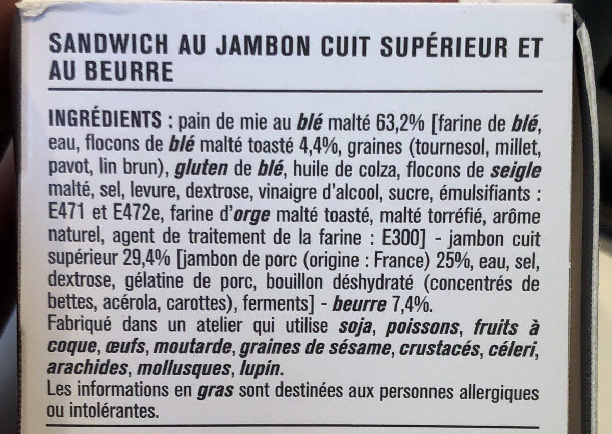 Sandwich au jambon cuit supérieur et au beurre - Ingrédients - fr