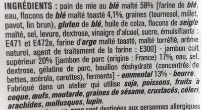 Le club - Jambon emmental et pain de mie au blé malté - Ingrédients - fr