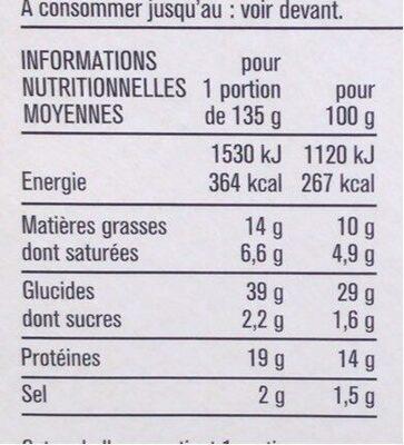 Le club - Jambon emmental et pain de mie au blé malté - Informations nutritionnelles - fr