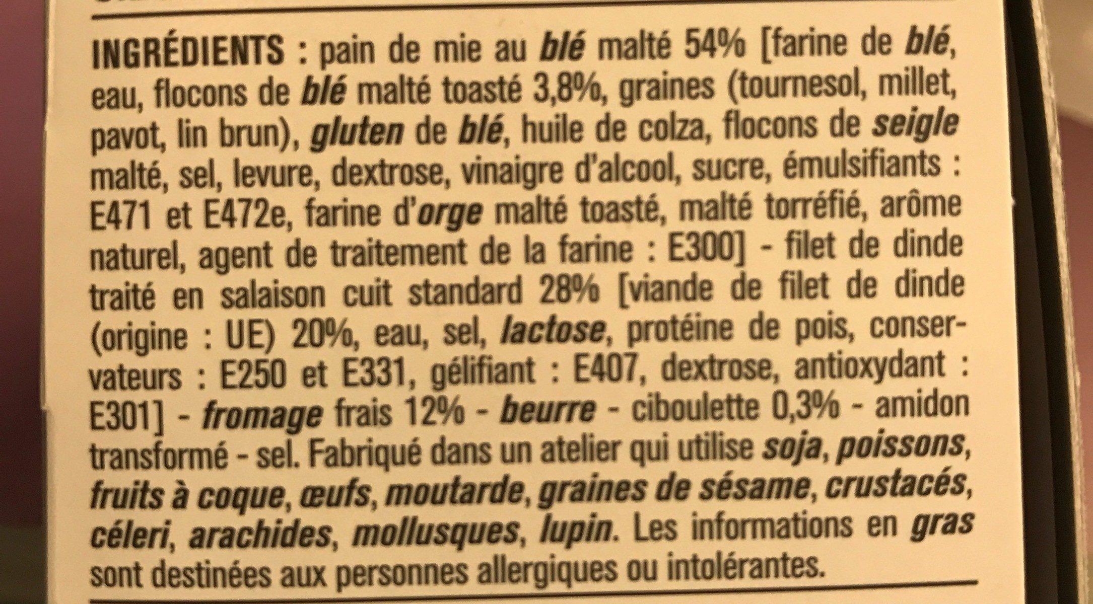 Dinde Fromage Frais Ciboulette - Ingrédients - fr