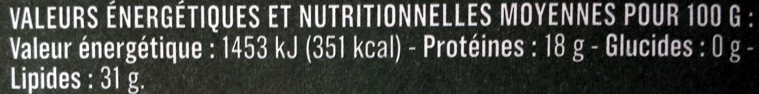 Roquefort AOP au lait cru de brebis (31 % MG) - Voedingswaarden - fr