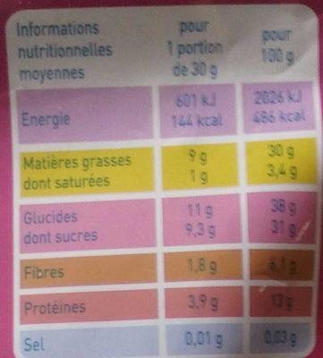 Mix Apéro - graines grillées et raisins secs - Voedingswaarden