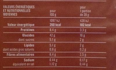 Pain de mie complet grand format - Informations nutritionnelles - fr