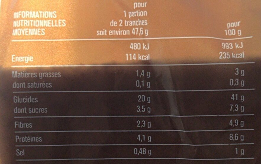 Only mie - Pain de mie complet sans croûte - Valori nutrizionali - fr