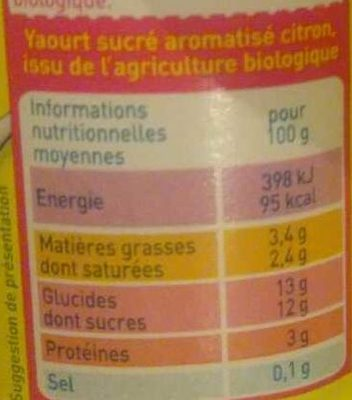 Yaourt aromatisé citron - Nutrition facts