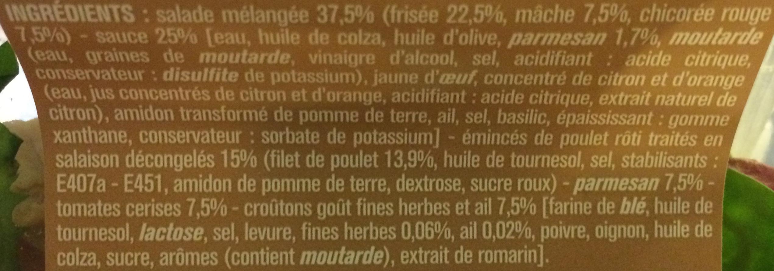 Salade Poulet, Parmesan, Croûtons, Ail et Fines Herbes, Sauce Caesar - Ingredients - fr