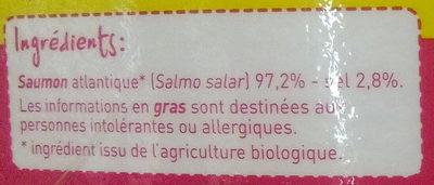Saumon Atlantique fumé Bio - Ingrédients