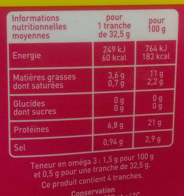 Saumon Atlantique fumé Bio - Voedingswaarden - fr