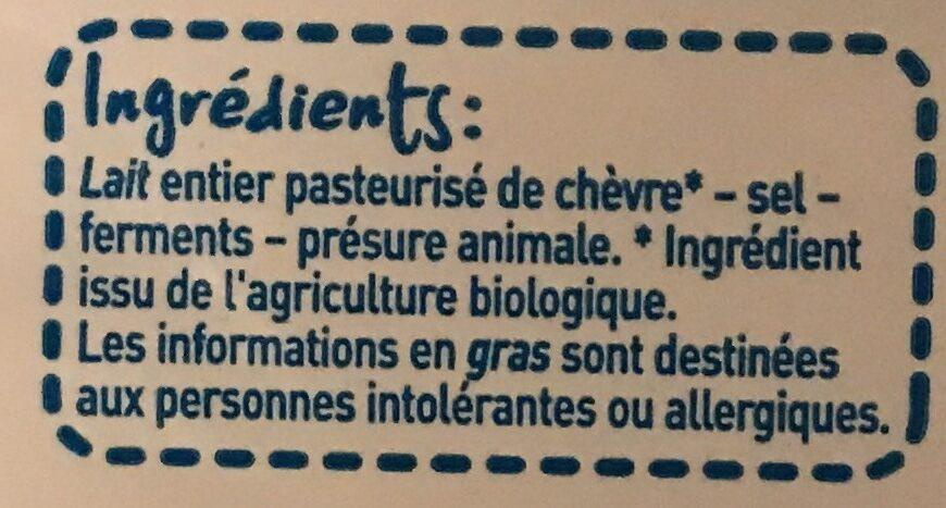 Bûche de chèvre coeur fondant - Ingredients - fr
