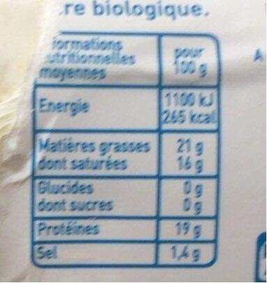 Bûche de chèvre coeur fondant - Nutrition facts - fr