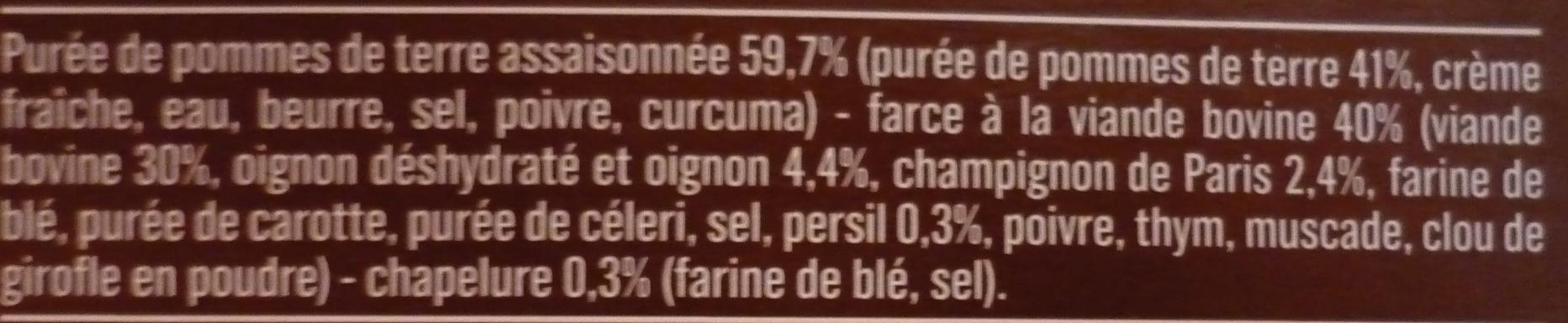 Hachis parmentier au bœuf cuisiné - Ingrédients - fr