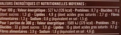 Hachis parmentier au bœuf cuisiné - Informations nutritionnelles