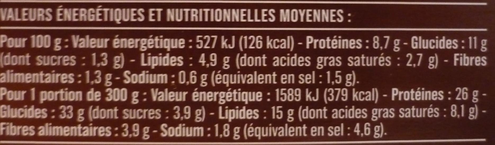 Hachis parmentier au bœuf cuisiné - Informations nutritionnelles - fr