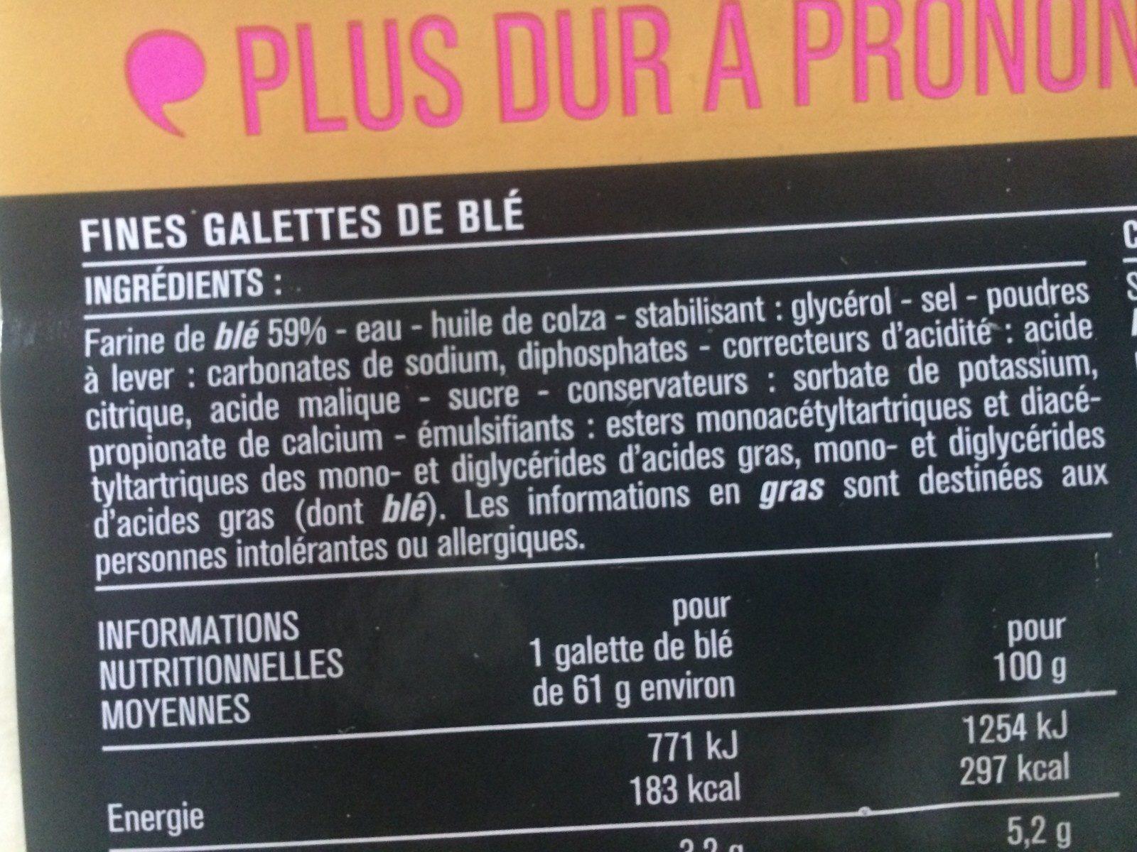 Wrap - Ingredienti - fr