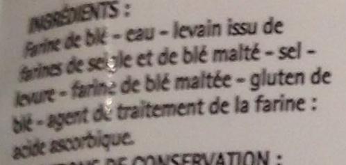2 Baguettes précuites - Ingrediënten - fr