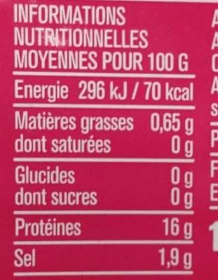 Petites crevettes roses - Nutrition facts
