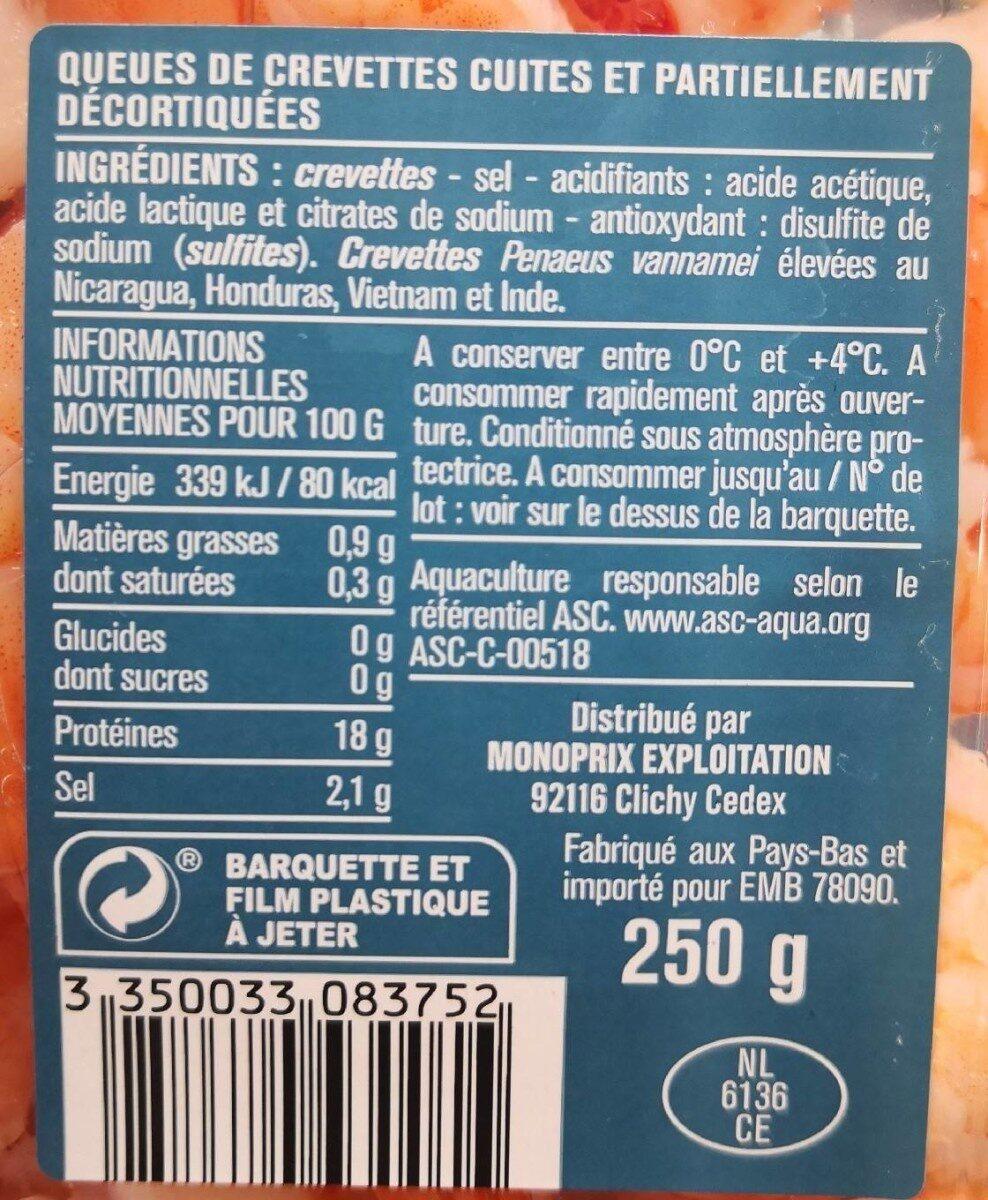 Queue de crevettes cocktail - Valori nutrizionali - fr