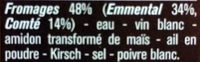 Fondue 2 Fromages - Ingredients - fr
