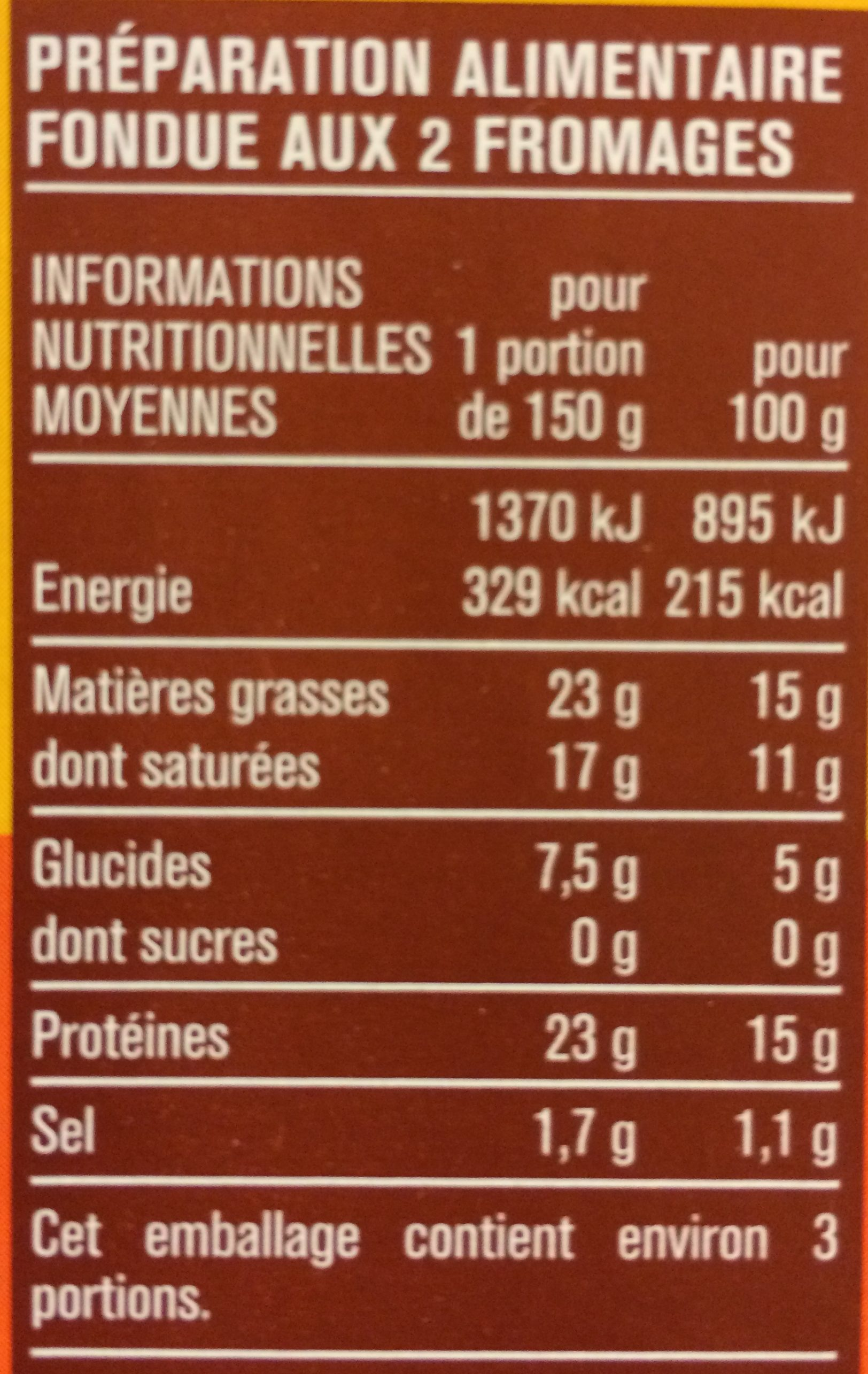 Fondue 2 Fromages - Nutrition facts - fr