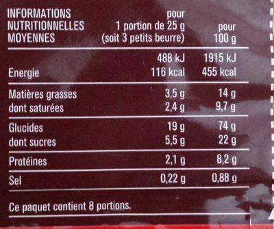 Petit beurre - Nutrition facts - fr