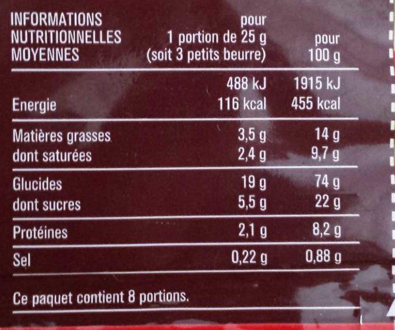 Petit beurre - 营养成分 - fr