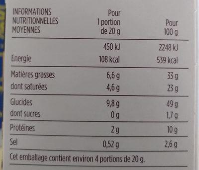 Mini palmiers apéritifs - Olives noires et vertes - Nutrition facts
