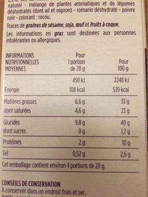 Mini Palmiers - Nutrition facts