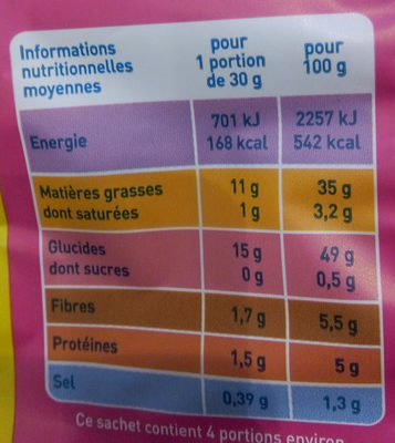 Chips à l'ancienne nature - Nutrition facts