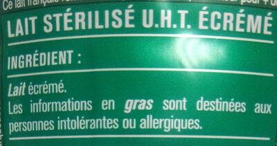 Lait écrémé - Ingredients - fr