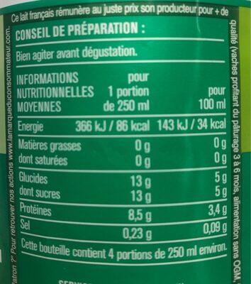 Lait écrémé - Nutrition facts - fr